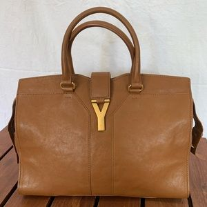 YSL Yves Saint Laurent Cabas Brown Leather